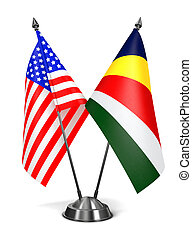 USA and Seychelles - Miniature Flags. - USA and Seychelles -...