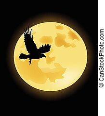 Crow on the background of the moon