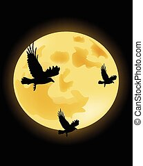Crows on the background of the moon