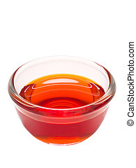 gyoza red chili oil dipping sauce - close up of a bowl of...