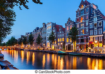 Amsterdam's canals. - View of the Amsterdam canals and...