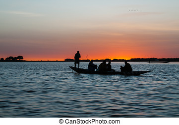 Niger - Sunset from the Niger River at Djenne, Mali