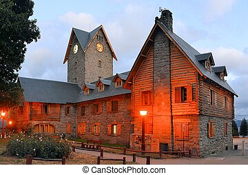 Swiss style main Square in Bariloche, Patagonia, Argentina -...