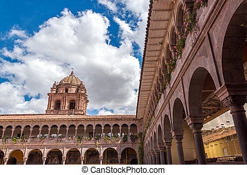 Santo Domingo Church in Cuzco, Peru - Courtyard and tower of...