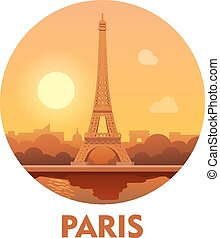 Travel destination Paris icon - Vector icon representing...