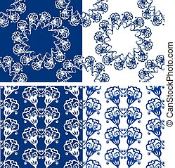 Set of Seamless blue color floral patterns Ornamental...