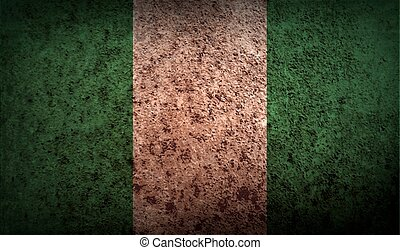 Flag of Nigeria with old texture Vector illustration