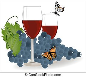 grapes with a glass of red wine and butterflies