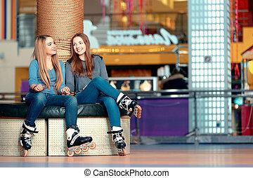 Beautiful girls on the rollerdrome - Weekend fun. Two...