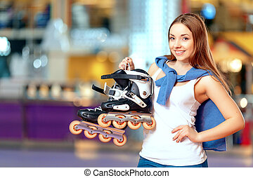 Beautiful girl on the rollerdrome - Young and active teen...