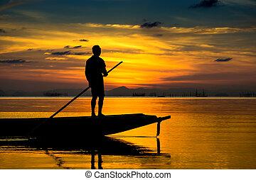 pescadores, silueta