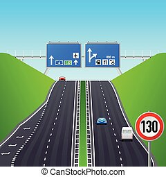Autobahn infographics - Autobahn road, signs, cars and...