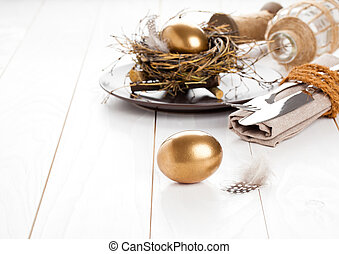 table decoration on white wooden background with Chicken...