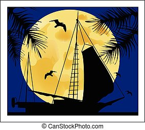 Sailboat on the background of the full moon