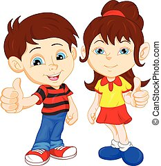 boy and girl giving thumb up - vector illustration of boy...