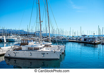 Yachts in the harbour - Yachts parking in the Adriatic...