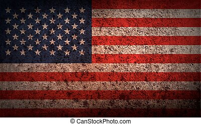 Flag of USA with old texture. Vector illustration