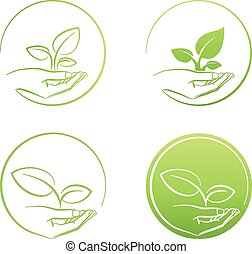 Hand holding plant, logo growth concept vector set
