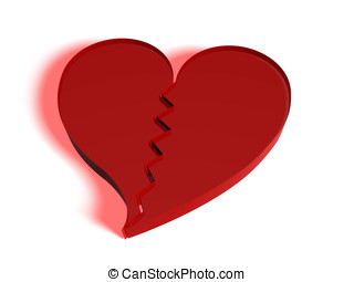 Broken heart - broken heart in red made in glass Concept of...