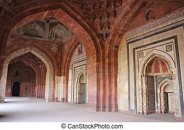 Interior of Qila-i-kuna Mosque, Purana Qila, New Delhi,...