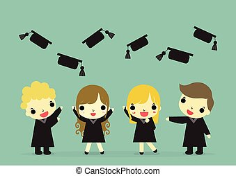 graduate happy emotion and hat - four graduate standup with...