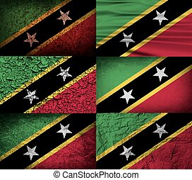 Flag of Saint Kitts and Nevis with old texture. Vector...