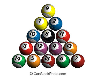 pool balls - 15 isolated 3d pool balls