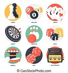 Casino Sport and Leisure Games Icons (Chess, Billiard,...