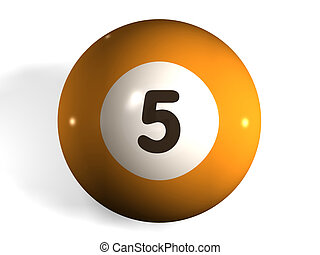 pool ball - isolated 3d pool ball number 5