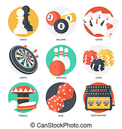 Casino Sport and Leisure Games Icons Chess, Billiard, Poker,...