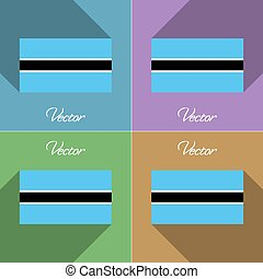 Flags Botswana Set of colors flat design and long shadows...