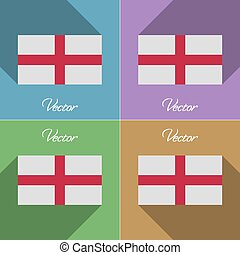 Flags England Set of colors flat design and long shadows...