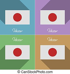 Flags Japan Set of colors flat design and long shadows...