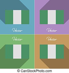 Flags Nigeria Set of colors flat design and long shadows...