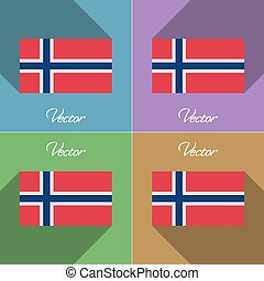 Flags Norway Set of colors flat design and long shadows...