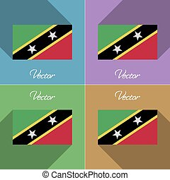 Flags Saint Kitts Nevis. Set of colors flat design and long...