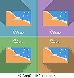 Flags Tierra del Fuego Province Set of colors flat design...