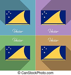 Flags Tokelau Set of colors flat design and long shadows...