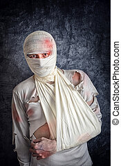 Injured Man with Head Bandages - Injured Mad with Brain...