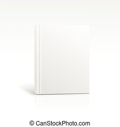 Blank vertical book cover template standing on white surface...