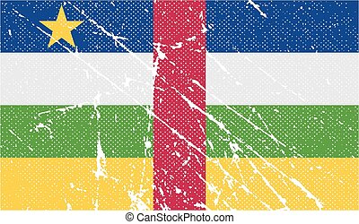Flag of Central African Republic with old texture. Vector