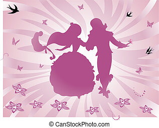 background fairy tale - Dancing Prince and Princess -...