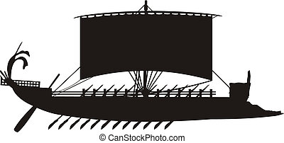 ship - Ancient Grecian Ship - Silhouette vector
