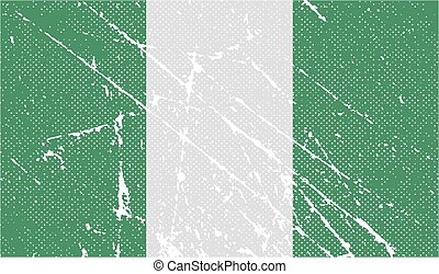 Flag of Nigeria with old texture. Vector illustration