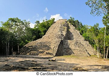 Ruins of Mayan pyramid in jungle, Coba, Yucatan, Mexico