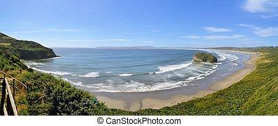 pacífico, Costa, en, en, el, isla, de, Chiloe, en,...