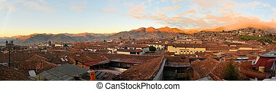 Red roofs in a historic area of Cuzco, Peru