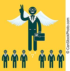 Businessmen flying with a wings. - Businessmen flying with a...