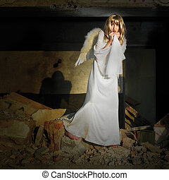Fallen angel - Angels on Earth! Lady posing with angel wings...