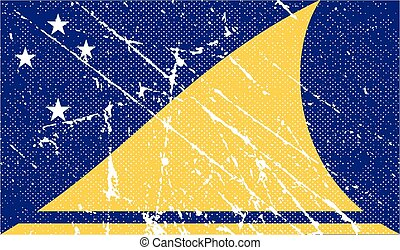 Flag of Tokelau with old texture Vector illustration